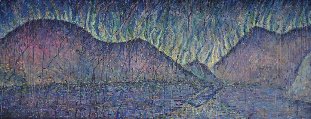 Ennerdale Autumn Skies Oil & wax on canvas by Kevin Weaver 164 x 60.5 cm Price £1400 framed