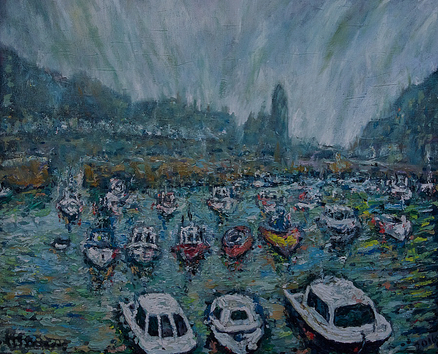 Fog rolls into Porthleven harbour, Cornwall £600 PAINTINGS UNFRAMED UNLESS STATED