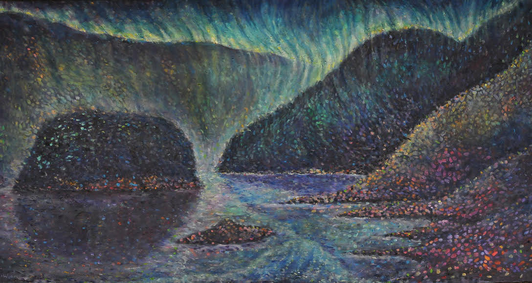 Hawes How Island, Thirlmere Lake Oil on canvas by Kevin Weaver 152 x 62cms Price £1600 framed