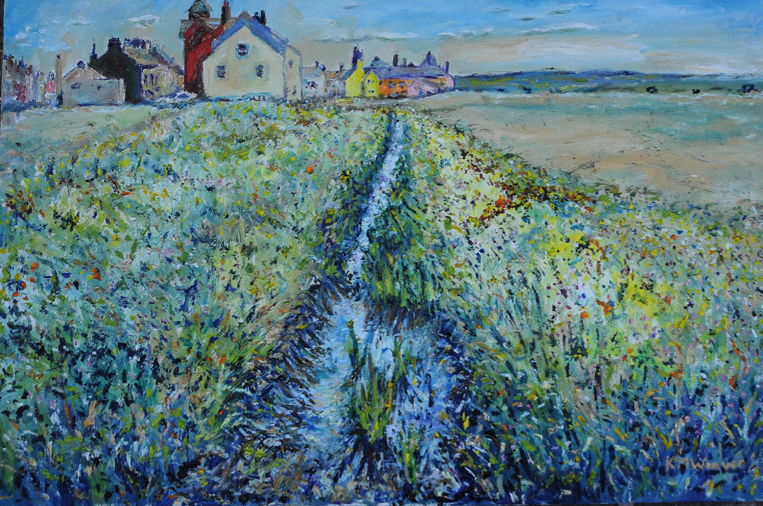 View from a bridge, Allonby. Oil on canvas by Kevin Weaver 76.2 x 50.5 cm Price £450