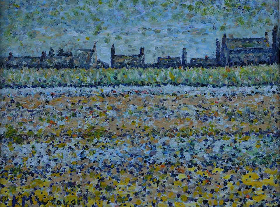 Allonby Roofs. Oil on canvas by Kevin Weaver 46 x 36 cm Price £250 (framed)