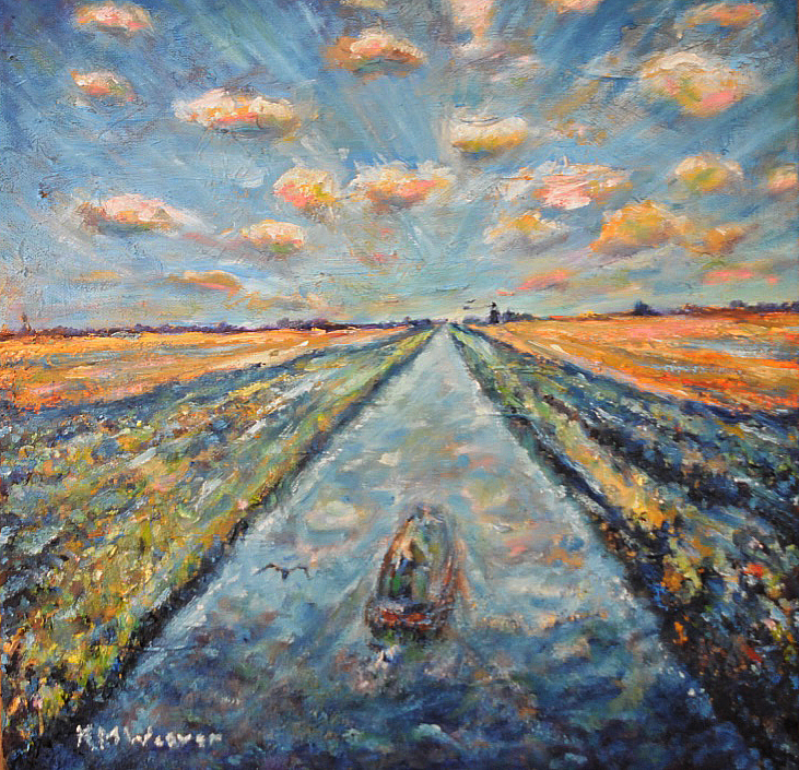 Barge on the Fens, Lincolnshire £200 40 x 40 cm PAINTINGS UNFRAMED UNLESS STATED