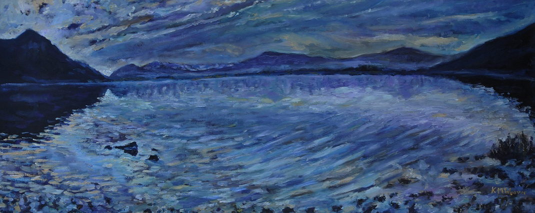 NOW SOLD Bassenthwaite Lake Dawn II  Oil on canvas by Kevin Weaver