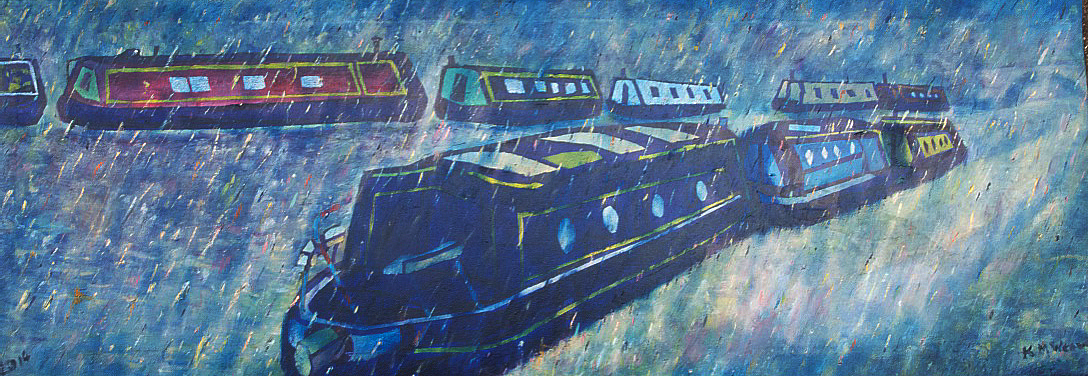Barges in the Rain,  Grand Union Canal 90 x 45 cm  Price £400 unframed Kevin Weaver