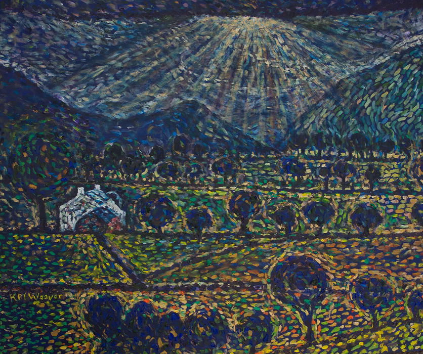 Crepuscular Rays over Crummock Water Oil on canvas by Kevin Weaver 100 x 115 cm £990