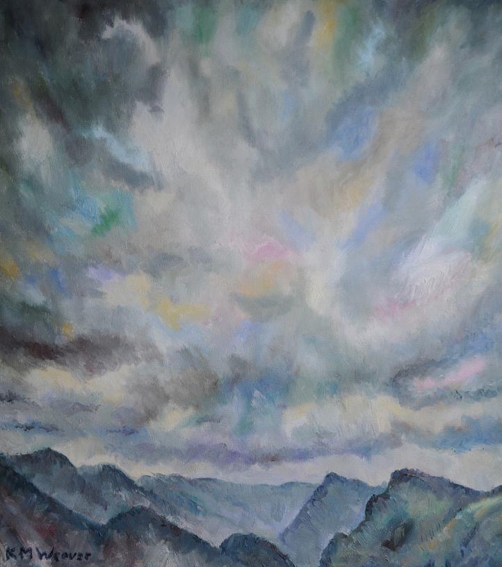 'Grey Skies, Ennerdale by Kevin Weaver. Oil on canvas. 79.5 x 87 cm £720 unframed