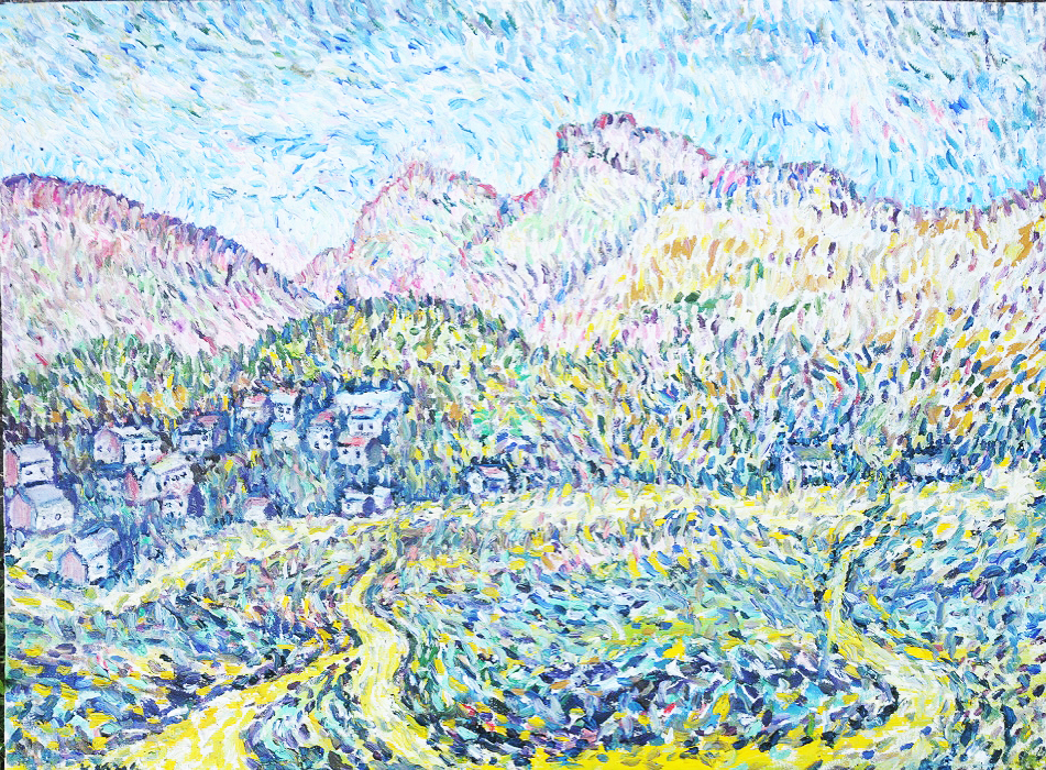 'The Langdales, Elterwater' Oil on canvas by Kevin Weaver 66 x 90 cm £700 unframed