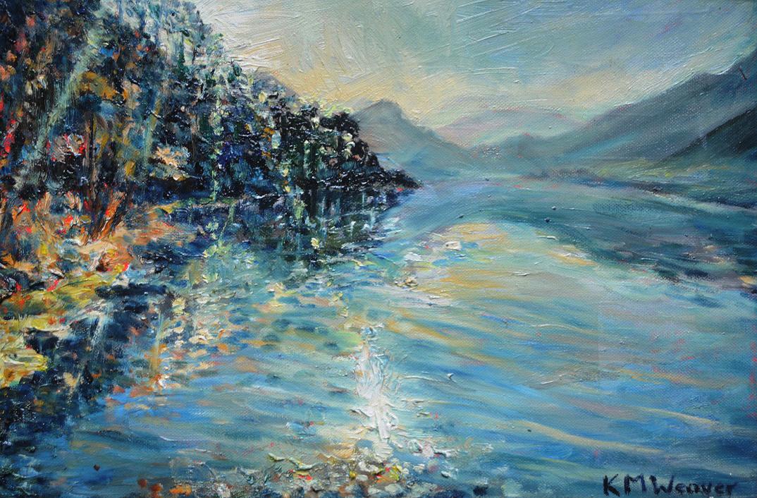 'Light on Derwent Water II' Oil on canvas by Kevin Weaver 30 x 40 cm £150 framed
