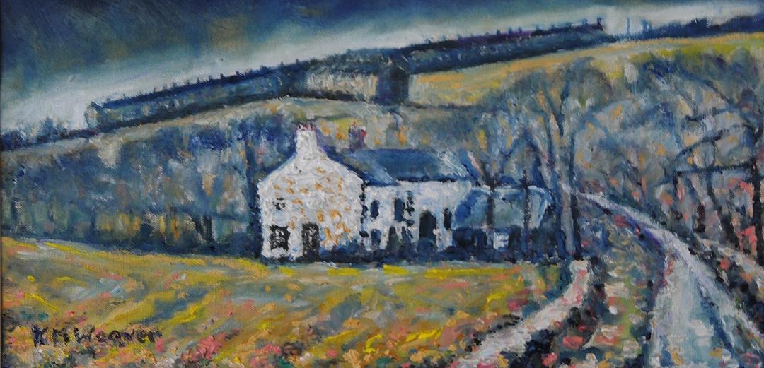 Pica cottages on the hill. Oil on canvas by Kevin Weaver 45 x 23 cm £200