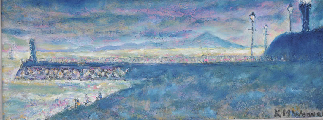 Maryport Pier. Oil on canvas by Kevin Weaver  57 x 23 cm £150