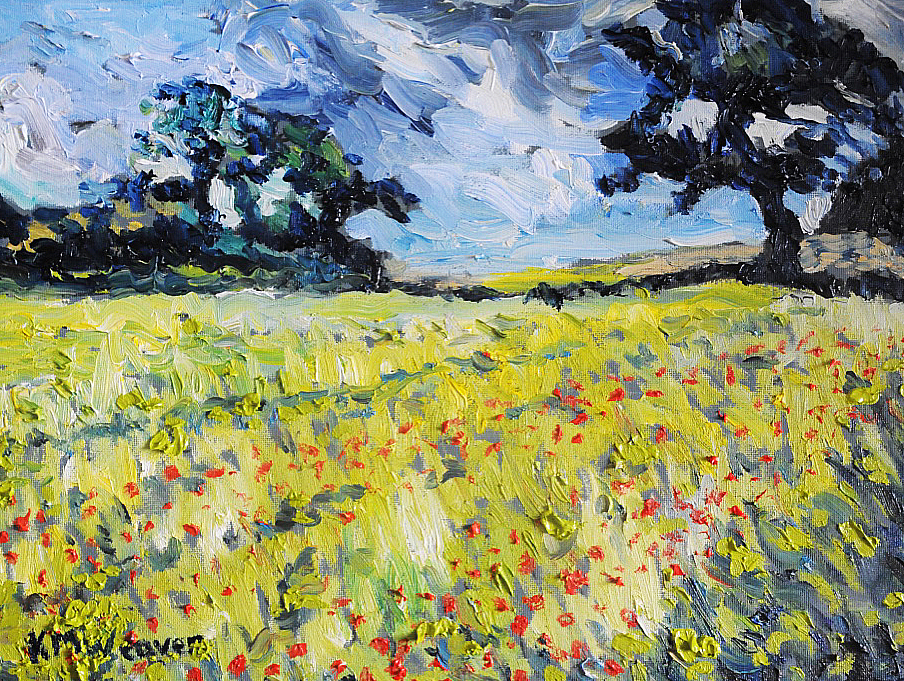 NOW SOLD Poppy Field I, Norfolk 30 x 40 cm