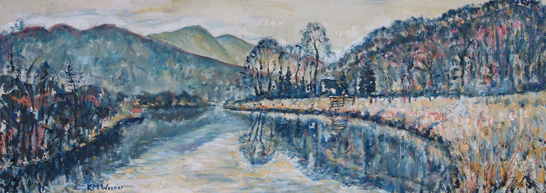 River Brathay, near Elterwater. Oil on canvas by Kevin Weaver 111 x 40 cm £550 (framed)