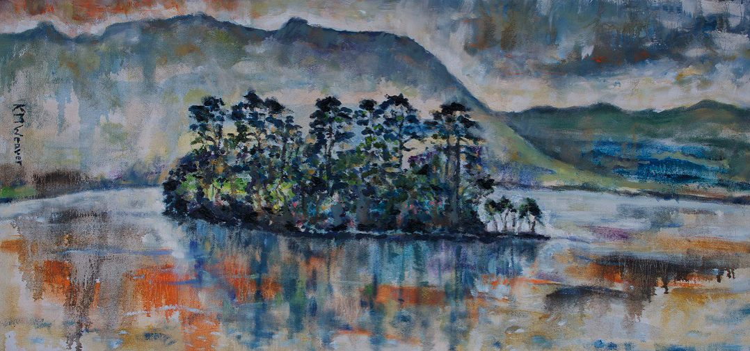 'Rydal Reflections' Oil on canvas by Kevin Weaver 92 x 44 cm £350