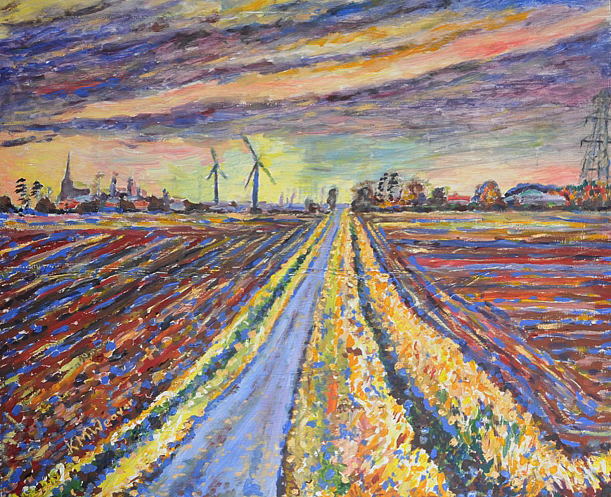 Fields at Dusk, near Spalding. Acrylic on board 60 x 50 cm £250 unframed Kevin Weaver