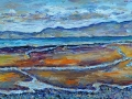 NOW SOLD Allonby beach, Solway. Oil on canvas by Kevin Weaver 90cms x  30 cm