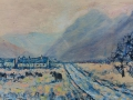 Bank Cottages, Ennerdale, Sunrise. Oil on canvas. 3 ft x 1ft £400