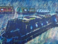 Barges in the Rain,  Grand Union Canal 90 x 45 cm  £585 framed. Kevin Weaver.