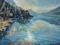 'Light on Derwent Water II' Oil on canvas by Kevin Weaver 30 x 40 cm £150 framed