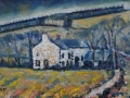 NOW SOLD Pica cottages on the hill. Oil on canvas by Kevin Weaver 45 x 23 cm £200