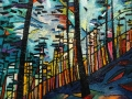 NOW SOLD Thriller Forest Fire Oil on canvas by Kevin Weaver 50 x 60 cm