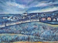NOW SOLD Trumpet Terrace, Cleator Moor. Oil on canvas by Kevin Weaver 34.5 cm x 106 cm