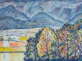 'Scars in the sky over Derwent Water from Underscar' Oil on canvas 110  x 36 cm £550 (unframed)