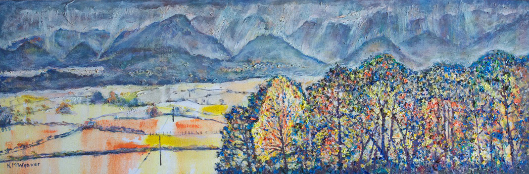 NOW SOLD 'Scars in the sky over Derwent Water from Underscar' Oil on canvas 110  x 36 cm