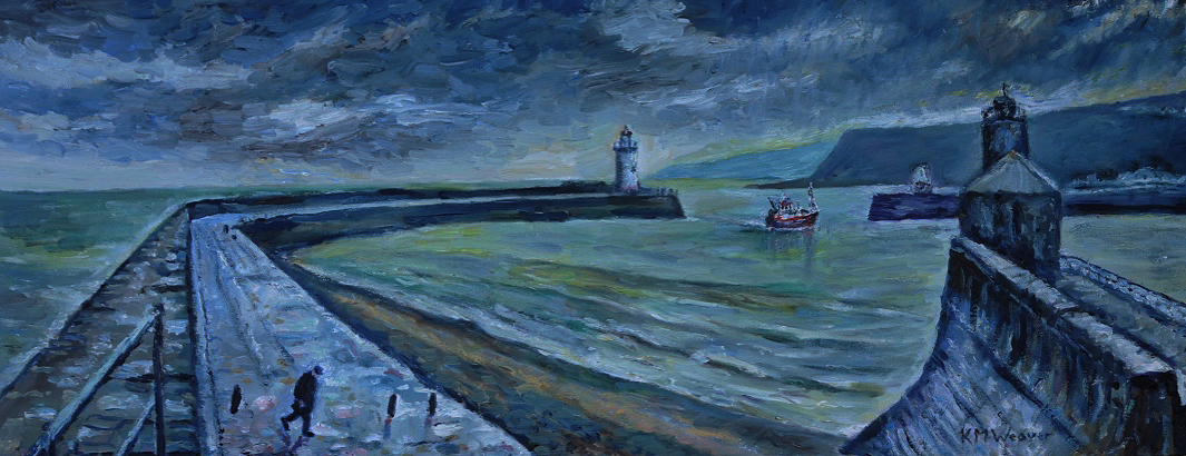 Trawler's Return, Whitehaven Harbour. Oil on canvas by Kevin Weaver 102.5 x 40.5 cm. £450