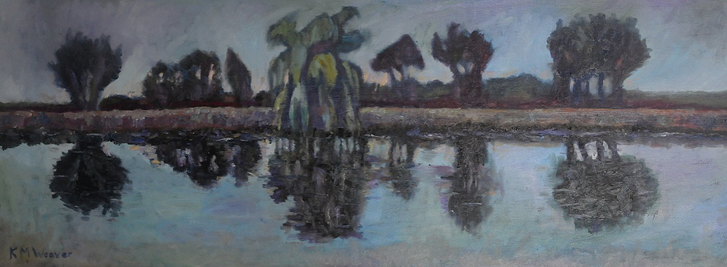 Willows on Coronation Channel, Spalding. Oil on canvas by Kevin Weaver 80 x 30 cm Price £400 framed