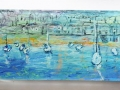 Boats at Low Tide, Mousehole, Cornwall. Oil on glass backed on whiteboard 300mm x 390mm £600 Kevin Weaver Oil on Glass Paintings