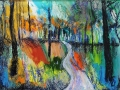 Path around Derwent Water, Keswick. Oil on glass backed on whiteboard 300mm x 390mm FOR INFO CONTACT ARTIST