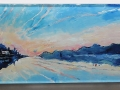 Kippford Sunrise, Dumfries & Galloway. Oil on glass backed on whiteboard 200mm x 600mm £500 Kevin Weaver Oil on Glass Paintings