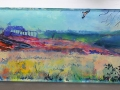 NOW SOLD Red Kites over Cranfield, Bedfordshire. Oil on glass backed on whiteboard 190mm x 690mm Kevin Weaver Oil on Glass Paintings