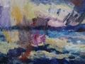 Storm in Kirkcudbright Bay £450 Oil on glass backed on whiteboard 60 x 20 cm Kevin Weaver Oil on Glass Paintings