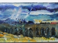 Train Through Garsdale, Yorkshire. Oil on glass backed on whiteboard 190mm x 590mm £500 Kevin Weaver Oil on Glass Paintings