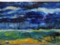 Winter Fields, Dumfries & Galloway. Oil on glass backed on whiteboard 460mm x 260mm £500 Kevin Weaver Oil on Glass Paintings