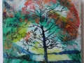 Autumn Tree Bassenthwaite Lake oil on glass backed on white board £500 Kevin Weaver Oil on Glass Paintings