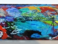 Boatbuilder, Mousehole, Cornwall Oil on glass backed on white board 200 x 690 mm £600 Kevin Weaver Oil on Glass Paintings