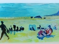 Melting Pot on Sandhills Beach, Dumfries & Galloway. Oil on glass backed on whiteboard 88 x 27 cm) £450 Kevin Weaver Oil on Glass Paintings