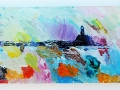 Boat off St Ives Harbour in a Storm. 22 x 70 cm plus wooden backboard 26 cm x 74 cm £400 Kevin Weaver Oil on Glass Paintings