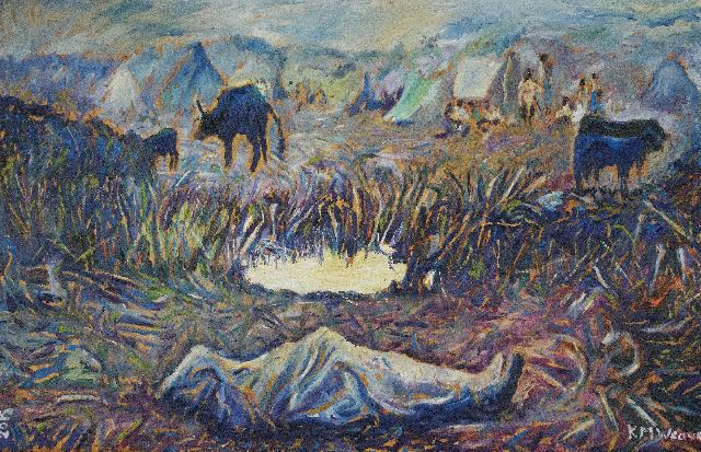 Death by the Pool, Rwandan Refugees, Mugunga Camp, Zaire, August 1994 (painted 2015)