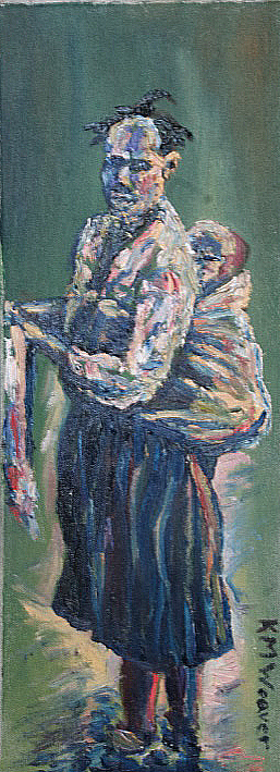 'I Carry You' Oil on canvas by Kevin Weaver 18 x  46 cm £160