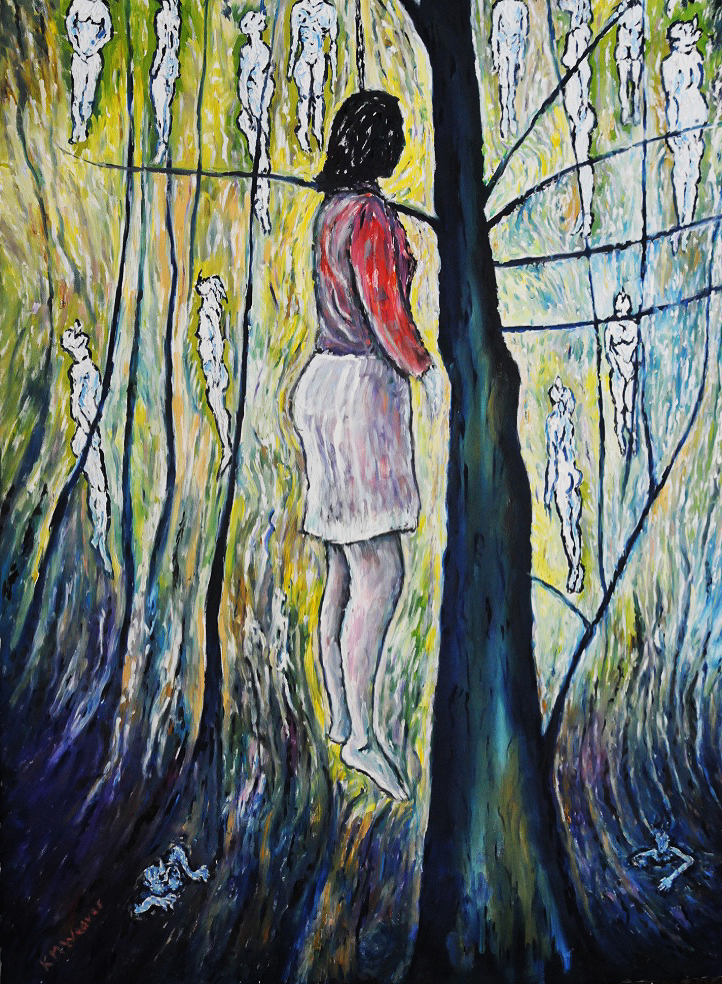Silence of trees, Bosnia. Oil on canvas by Kevin Weaver. 92cm x 131.5cm £1100 framed