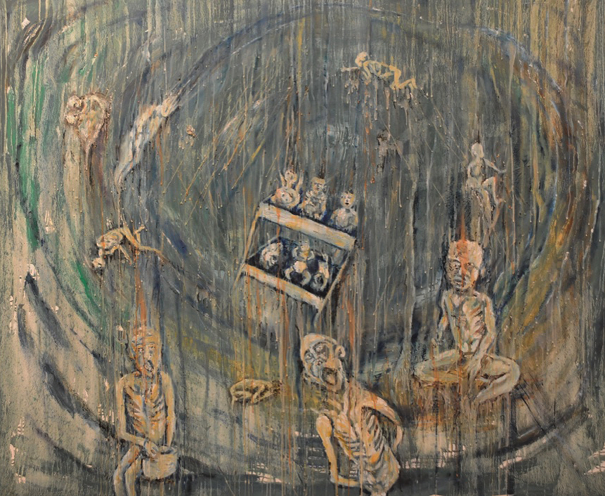 'Take me Home, Rwandan orphans, Zaire.'  Oil and wax on canvas by Kevin Weaver 44 x 59 inches Price £1300 unframed