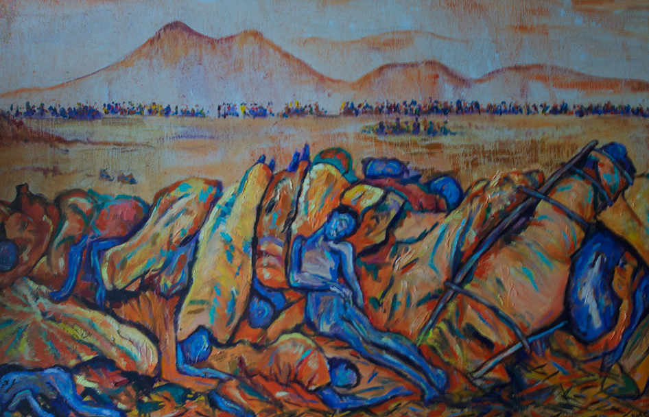 'Rwandan Revenge 1994'  Oil on canvas by Kevin Weaver  86 x 153 cm £1500 unframed