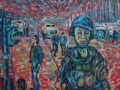 UN Soldier Blues, Sarajevo, 1994.'  Oil on canvas by Kevin Weaver.  43 inches by 28.5 inches. £600 (unframed)
