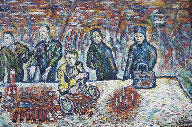 """Last Supper with Five Lighters, Markala Wartime Black Market, Sarajevo Christmas 1994. Oil and wax on canvas. Kevin Weaver."""