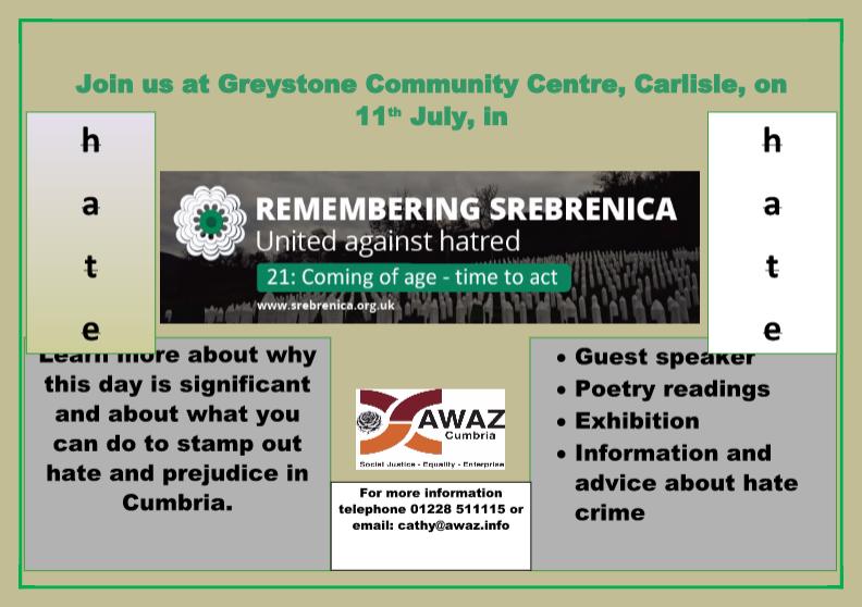 """Remembering Srebrenica United Against Hatred"""